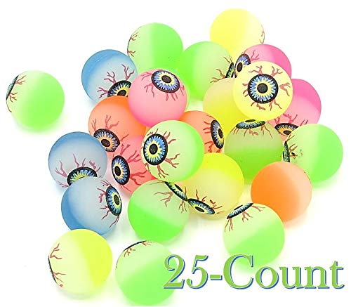 (Bouncy Rubber Balls with Google Eye - Assorted Colors of Creepy Super Bounce Ball Party Favors 25 Count - Kid's Birthday Party |BBQ's | Beach | 1)