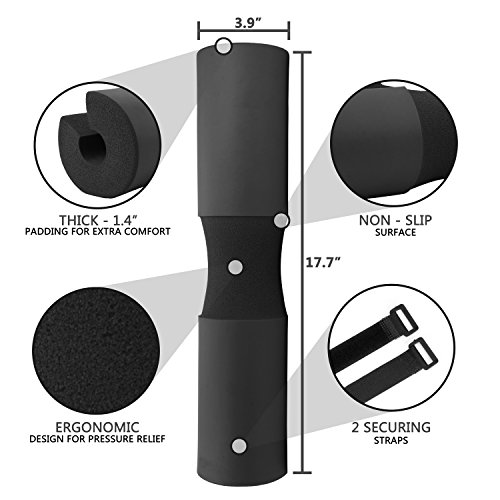 Reehut Barbell Squat Pad Advanced Neck & Shoulder Ergonomic Protective Pad Support for Squats, Lunges & Hip Thrusts