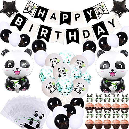 69Pcs Cute Panda Party Supplies for Girls Panda Happy Birthday Banner Panda Balloons Panda Cupcake Toppers Panda Goodie Bags for Kids Boys Girls Panda Theme Birthday Party Baby Shower Party Favor Decorations ()