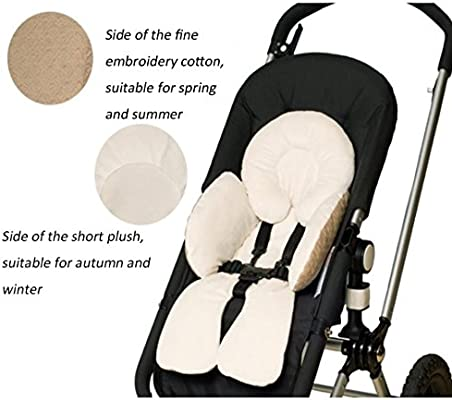 Fyore 100/% Cotton Baby Body Support Padding Liner Pad for Pushchair Stroller Car Seat Reversible for Warm and Cold Weather Khaki