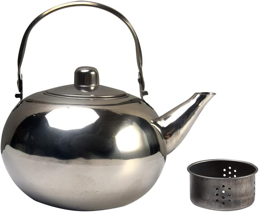 Teakettle Teapot Stainless Steel Tea Pot Kettle Tea Maker Infuser Teapots Strainer, Home Office Camping Travel Outdoor Loose Leaf Teapot
