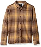 Quiksilver Big Boys' Long Sleeve Fatherfly Youth Flannel Shirt, Chocolate Brown Fatherfly Check, L/14
