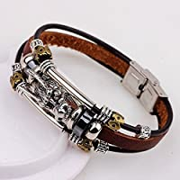 Tibetan silver men leather bracelet fashion male vintage dragon Multilayer 2017 WelcomeShop