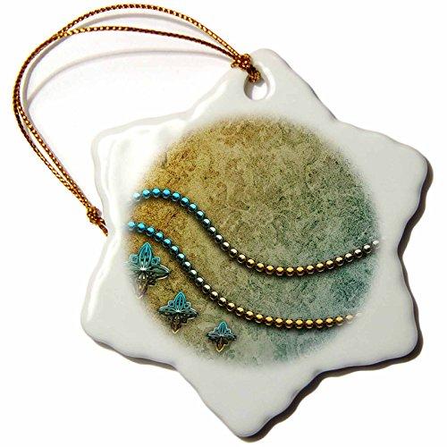 - 3dRose Heike Köhnen Design Decorative - Decorative pearl necklace on vintage background - 3 inch Snowflake Porcelain Ornament (orn_243118_1)