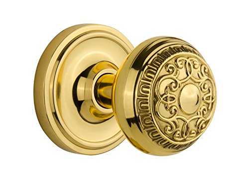 Nostalgic Warehouse BN40-CLAEAD-PB Classic Rosette with Egg and Dart Knob Privacy, Polished Brass