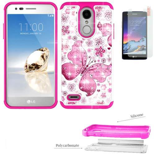 Phone Case for LG Aristo 2-Plus, Aristo-3, Aristo-2, Fortune 2, Risio-3,  Zone-4, Tribute-Dynasty, Rebel-4, Rebel-3 Tempered Glass  Crystal-Dual-Layered