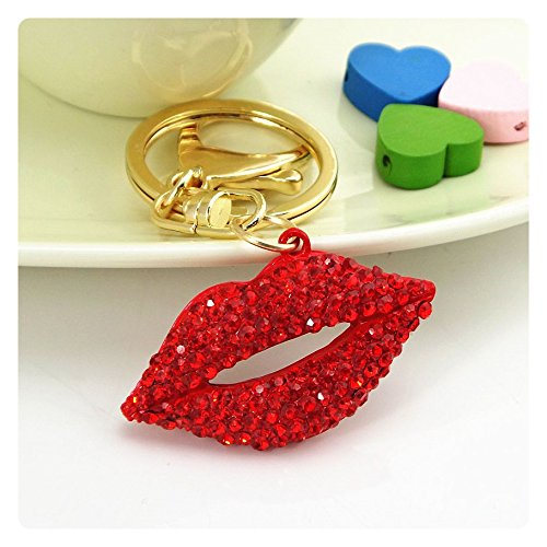 Red Rhinestone Kiss - Bling Car Decor Red Rhinestone Kiss Lips Keychain, Bling Key Chain, Women Purse Charm Bling, Crystal Key Ring Bag Charm Jewelry, Red Diamond Keyring, By