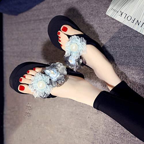Talons De 2069 Bleu Hauts Plage Pantoufles Femmes Antidérapantes Clair Tongs Wedge 2093 Banbie8409 42 Fleur Filles PnazqxI