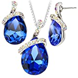 High Quality Blue Crystal Water Drop Leaves Gold Plated Necklace Earrings Sets For Women Sets S20184