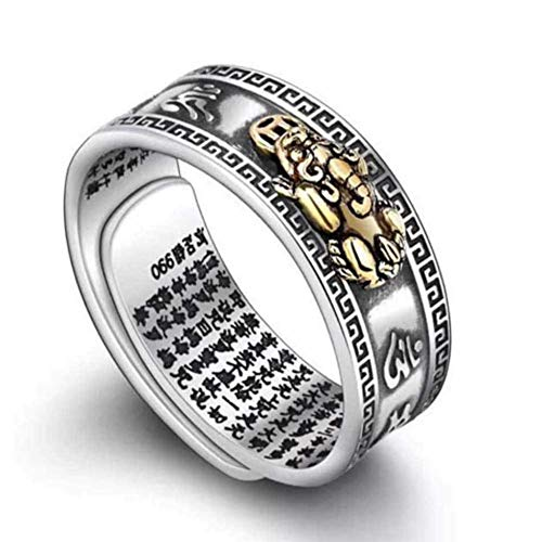 DATOO Adjustable FENG Shui PIXIU MANI Mantra Protection Wealth Ring