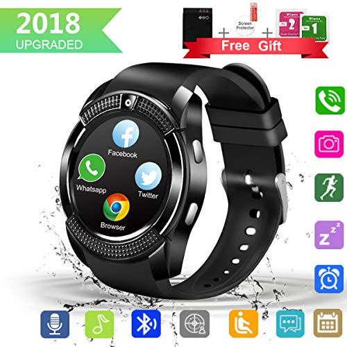 Smart Watch, Bluetooth Smartwatch with Camera Touchscreen,Smart Watches with SIM Card Slot, Sport Smart Wrist Watch Fitness Tracker Smart Watch Compatible Android iOS Smart Phones for Men Women Kids by Larspace