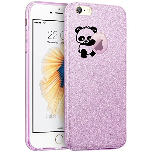Price comparison product image vanki iPhone 7 Case Thin TPU 3 Layer Hybrid Glitter Shockproof Protective Cover(Purple)