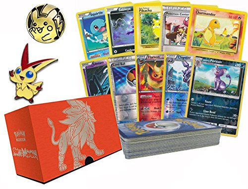 Pokemon 50 Card Lot Featuring 10 Foils! Pokemon Collectible Coin and Pin! Comes Packed inside of An empty Elite Trainer Box! Great for ()