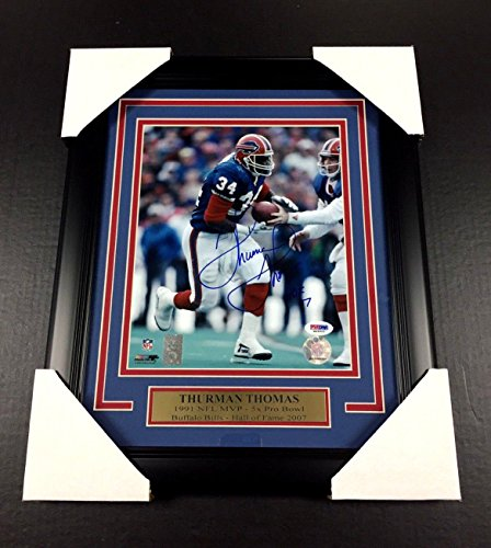 THURMAN THOMAS AUTOGRAPHED SIGNED BUFFALO BILLS FRAMED 8X10 PHOTO PSA COA