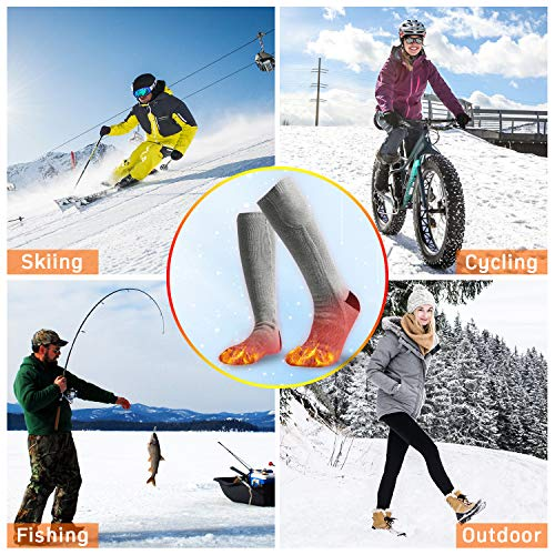 HeiYi Heated Socks for Men/Women, Electric Rechargeable 3 Heating Settings Cotton Heated Socks with Large Capacity Battery for 10 Hours Heating Time, Washable Warm Socks for Fishing Skiing etc(Grey)