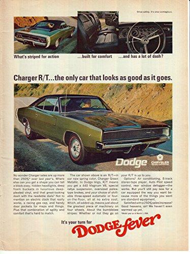 - 1968 Dodge Charger RT Original 13.5 * 10.5 Magazine Ad 440 Magnum V-8 Green Metallic