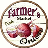 Smart Blonde Farmers Onion Novelty Aluminium Metal Circular Sign C-606