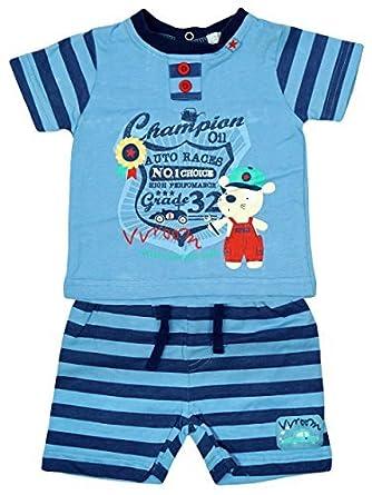 Jungen Baby Champion Suss Teddybar T Shirt Gestreifte Shorts Set