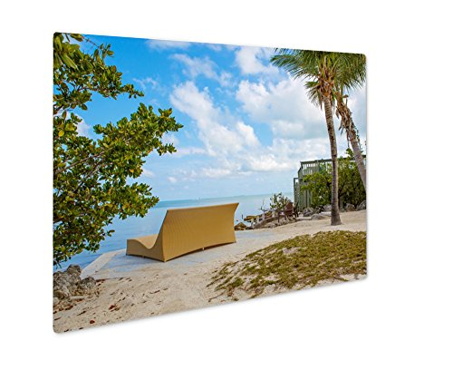 Ashley Giclee Metal Panel Print, Tropical Resort With Chaise Longs And Hammocks Near Palms On Sandy Beach Key, 8x10