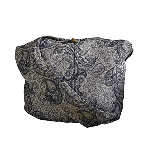 BTP! Thai Cotton Hippie Hobo Sling Crossbody Bag Messenger Purse Paisley Print Large (Khaki PL41)