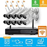 Cheap HD 960P Smart Remote Auto-Pair WiFi Wireless Security Camera System 8 Channel NVR Kits with 8 HD Outdoor Wifi IP Cameras (Built-in Router, 1.3MP Camera, 1TB HDD)