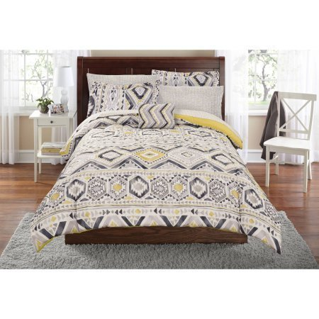 Mainstays Tribal Bed in a Bag Complete Bedding Set | Machine Washable for Easy Care (Twin/Twin XL) (Sheet Set Bedding Twin Complete)