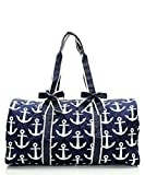 Quilted Navy Nautical Anchor Monogram Ready 20″ Overnight Duffle Bag Review