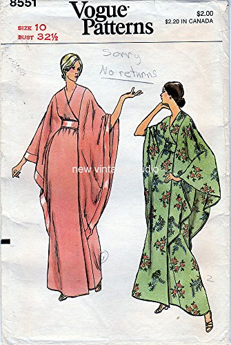 Vogue 8551 Vintage Misses' Semi Fitted Caftan Robe or Evening Gown Sewing Pattern, Check listing for Size (Patterns Gown Evening Vogue)