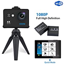 EKEN W9s Action Cam Full HD Wi-Fi Sport Action Camera Subacquea con 4K 10fps 1080p 30fps 720p 30fps Video 12 MP foto e 140 Grandangolare include 10 kit di montaggio 2 batterie Nero
