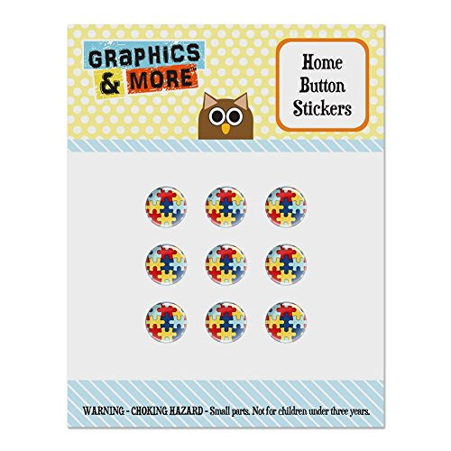 Autism Awareness Diversity Puzzle Pieces Set of 9 Puffy Bubble Home Button Stickers Fit Apple iPod Touch, iPad Air Mini, iPhone 5/5c/5s 6/6s 7/7s Plus ()