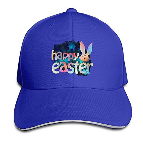 Cap Happy Face (Odr KOPWIEA Men's Happy Easter Bunny Face Funny Hip-Hop RoyalBlue Cap Hat Adjustable Snapback)