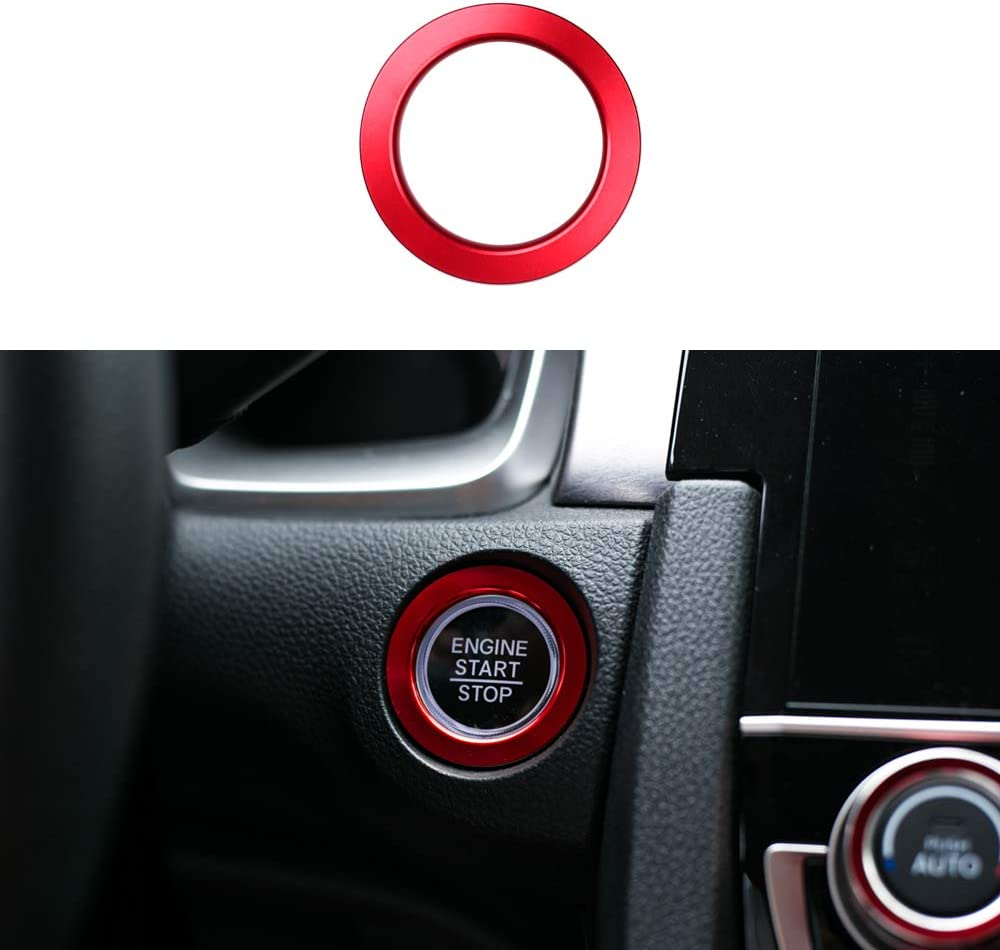 CKE Civic Car Engine Start Stop Push Button Cover Trim Ignition Key Ring For 10th Gen Honda Civic 2016 2017 2018 2019 2020 - Red