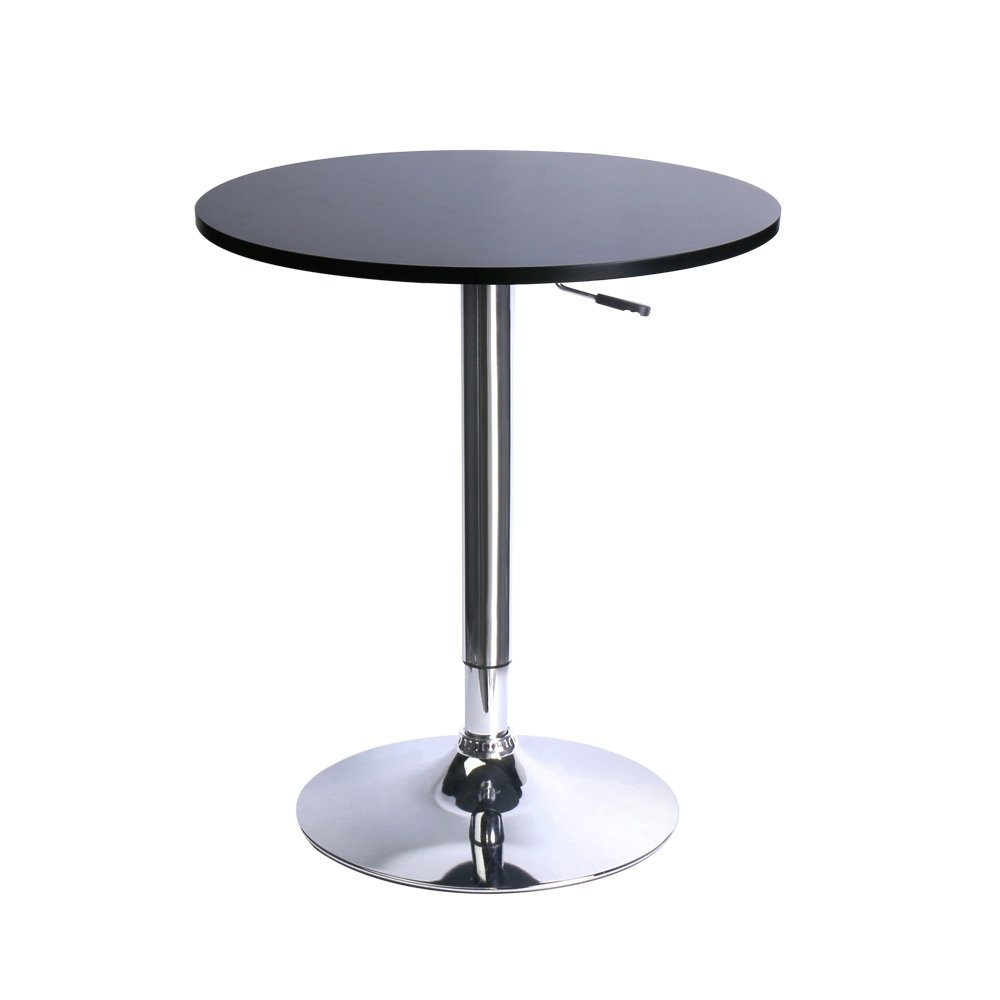 Leopard MDF Round Top Adjustable Bar Table, Pub Table with Silver Leg and Base (Black/Adjustable)