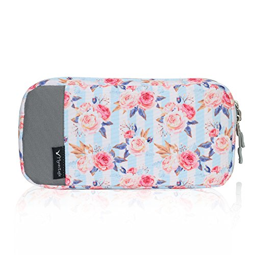 Hynes Eagle Cord Organizer Small Electronics Case Gadget Pouch Phone Accessories Storage Bag Pink Flowers