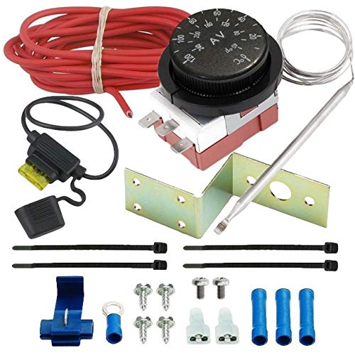 (American Volt Adjustable Electric Radiator Fan Thermostat Switch Temperature Controller Kit)