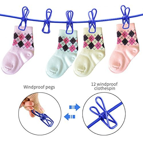 Portable Clothesline Washing Line with 12 Windproof Pegs, Pe