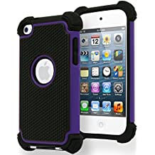 Bastex Hybrid Armor Case for Apple Ipod Touch 4, 4th Generation - Purple & Black