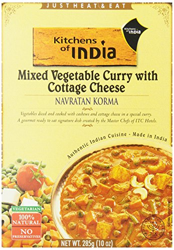 Kitchens of India Ready to Eat Dish, Mixed Vegetable Curry with Cottage Cheese (Navratan Korma), 10 Ounce (Pack of 6)