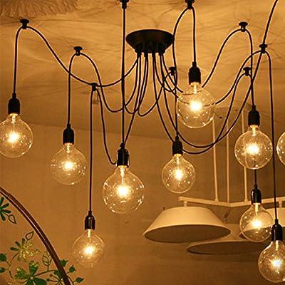 Leyden Chandelier Vintage Design 110-220V Edison Light Bulb Black Iron Pendant Lighting for Kitchen(Bulb Not Included) & Leyden Chandelier Vintage Design 110-220V Edison Light Bulb Black ... azcodes.com