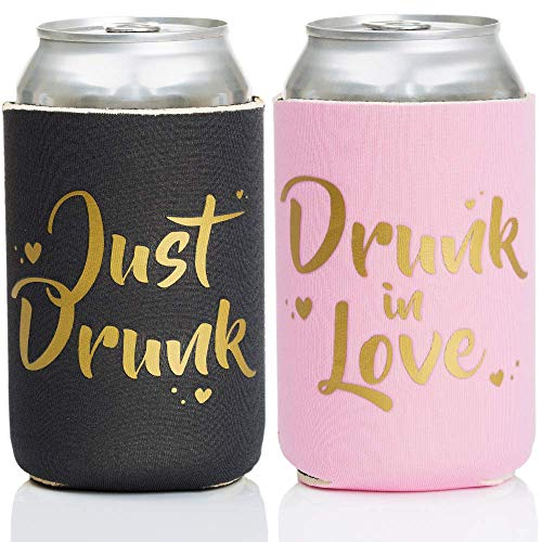 ASUSA Drunk in Love & Just Drunk Bachlorette Party Drink Coolers - 11 pcs Set Bridal Showers & Bachlorette Parties Can Sleeve, Party Favor Beverage Insulators, Bridesmaid Gifts