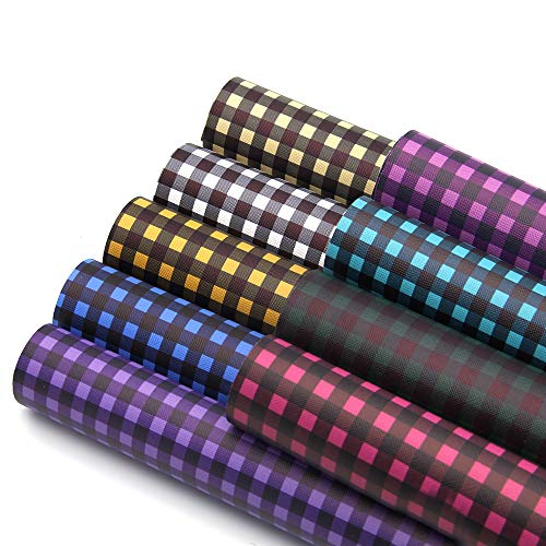 (David accessories Printed Faux Leather Sheets Plaid Printed Synthetic Leather Fabric 9 Pcs 8