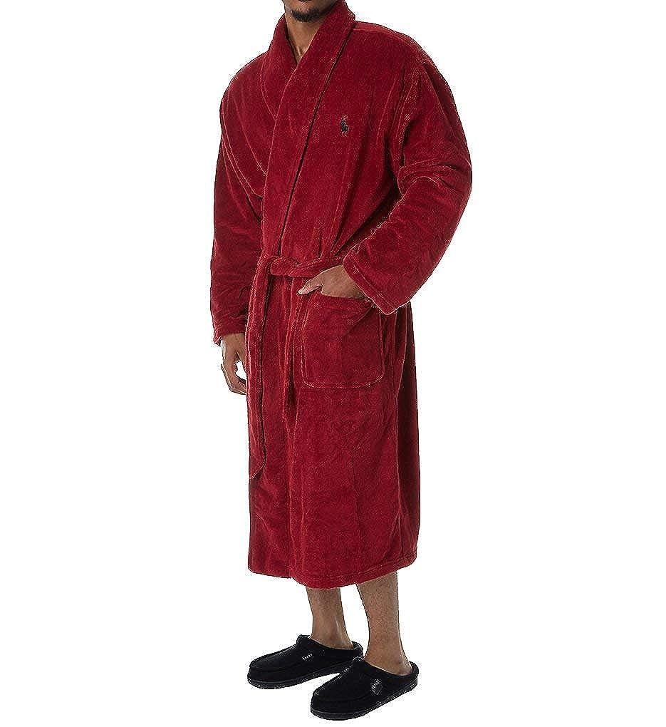 Polo Ralph Lauren Mens Microfiber Plush Long Sleeve Shawl Collar Robe