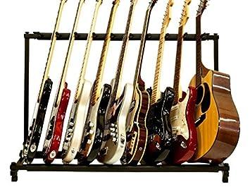 FireKingdom 9 Triple Folding Multiple Guitar Rack Storage Organizer Stand  Holder For Electric Acoustic Bass,