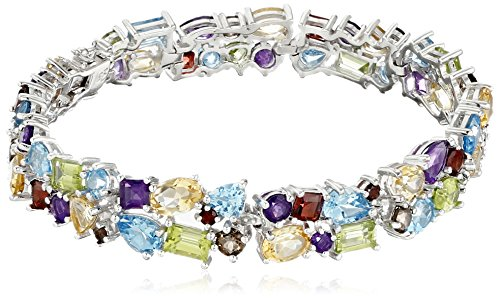 Rhodium Plated Sterling Silver African Amethyst, Peridot, Citrine, Swiss Blue Topaz, Smoky Quartz and Garnet Bracelet, 8