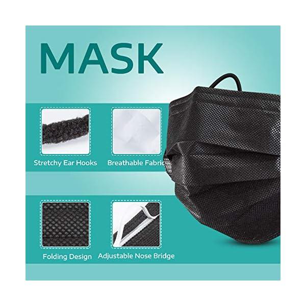 Axhkio Disposable Masksbreathable 3 Ply Mask With Elastic Earloops 50pcs Black