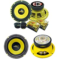 2) PYLE PLG6C 6.5 400W 2 Way Car Component+ 2) 6.5 600W Subwoofer Sub Speakers