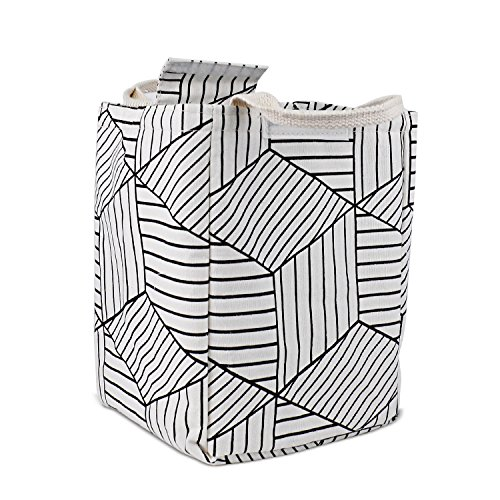 HOMESPON Reusable Lunch Bags Printed Canvas Fabric Insulated Waterproof Aluminum Foil, Lunch Box Women, Kids, Students (Geometric Pattern-White) by HOMESPON (Image #5)
