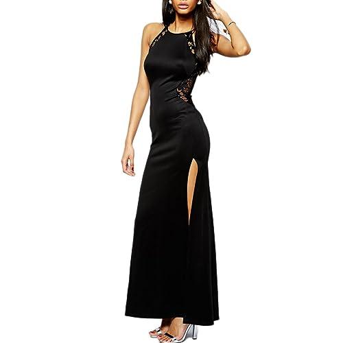 mywy - abito pizzo lungo donna cerimonia elegante vestito pizzo abito nero party rosso carpet