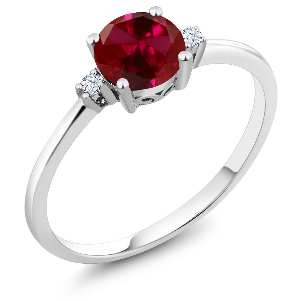 Gem Stone King 10K White Gold Engagement Solitaire Ring set with 1.03 Ct Round Red Created Ruby and White Created Sapphires (Size 9) by Gem Stone King