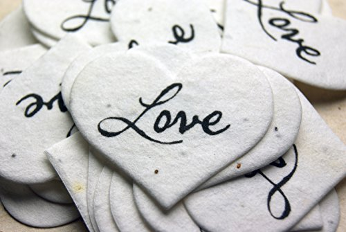 Small Love Heart Shape Seed Embedded Cotton Handmade Paper Tags (Set of 100)